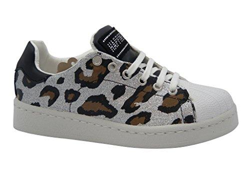 sneaker donna Happiness, scarpa in ecopelle con sottopiede estraibile e suola in gomma leggera e flessibile, Estivo, 11001