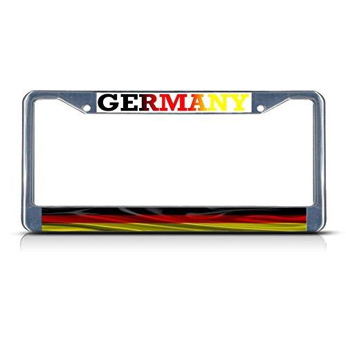 Deutschland mit Germany gewellt Flagge Metall Chrom Nummernschild Rahmen