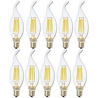 Regulable 4W LED E14 Bombilla Luz,Blanca Cálida 2700 K,Reemplazar 40W Incandescente,C35 Edison Vintage punta de llama Vela Led lámpara E14 Base,10 unidade