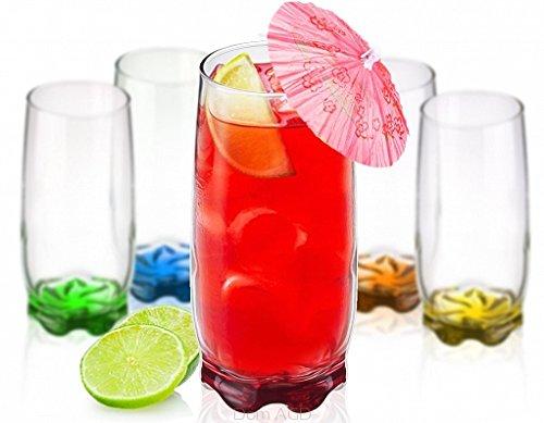 6 Longdrinkgläser 350ml mit farbigem Boden Bargläser Saftglas Glas Wassergläser