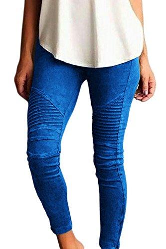 YACUN Les Femmes Moto Biker Maigre Cheville Pantalons Plissés Un Crayon blue