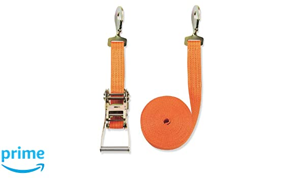 Braun Lashing Strap 2000 daN Two-Piece Colour Orange 6 m Long 35 mm Width with Ratchet and Carabiner Hooks