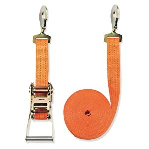 Braun Lashing Strap 4000 daN Two-Piece Orange Colour 8 m Length 50 mm in Width with Ratchet and Claw Hooks