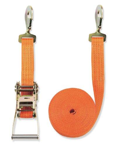 Braun Spanngurt 4000 daN, zweiteilig, für Profis, nach DIN EN 12195-2, Farbe Orange, 8 M Länge, 50 mm Bandbreite, mit Ratsche und Gedrehten Karabinerhaken