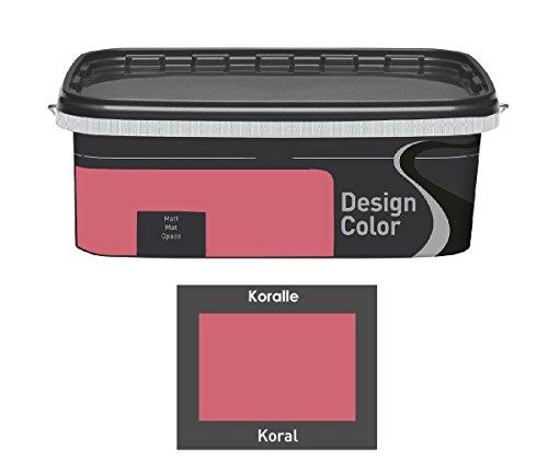 Design Color 2,5 L. farbige Innenfarbe, Wandfarbe Koralle, Koral, Matt