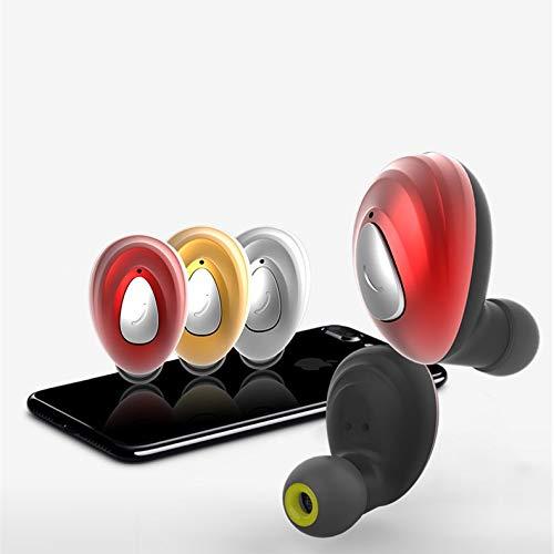 KXIN Mini Auricular Inalámbrico Bluetooth, Deportes De Viajes Stealth Headset, Grafeno Cuerno De Reducción De Ruido De Voz HD Llamada De Una Sola Touch Operación Multifunción,Gold