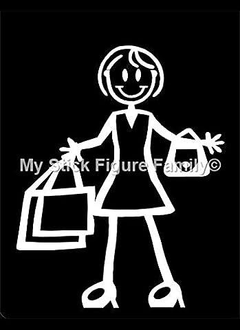 My Stick Figure Family sticker Famille autocollant voiture Grande Fille avec sacs TG7