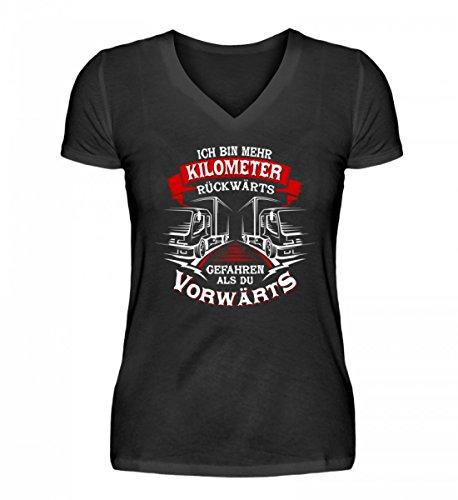 Hochwertiges V-Neck Damenshirt - LKW-Fahrer Trucker Fernfahrer Brummifahrer Berufskraftfahrer Lastwagenfahrer (T-shirt Ein Die Gefahr, Schwarzes)