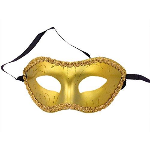 Wansan Herren Maskerade Maske Klassische Halloween Venezianische Schwarze Maske Mardi Gras Kostüm