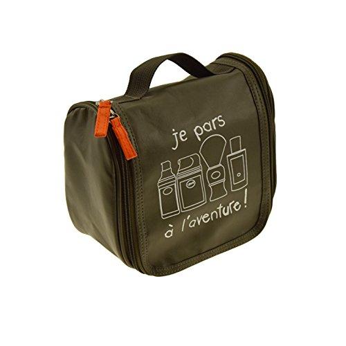 Incidence Paris 61898 Trousse de toilette A suspendre Je pars à l'aventure Kaki Façon cuir Fermeture double zip 3 poches intérieures, 20 cm