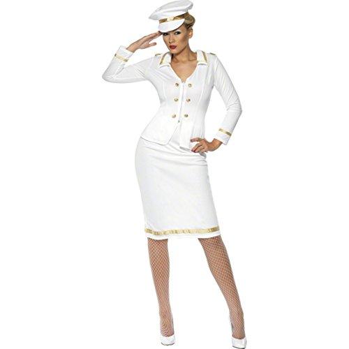 NET TOYS Kostüm Kapitänin weiß M 40/42 Kapitänskostüm Damen Kapitäninnen Matrosin Damenkostüm Marine Uniform Outfit Verkleidung