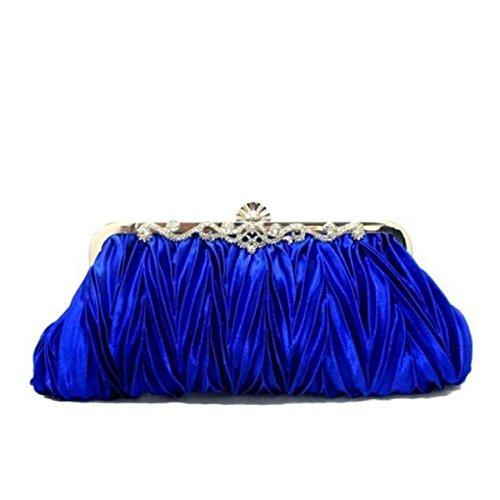 NBAG Weibliche Klassische Hand Tasche Braut Tasche Abendtasche Falten Tasche Schultertasche Brautjungfer Tasche Bankett Tasche Damen Tasche,Gray Blue