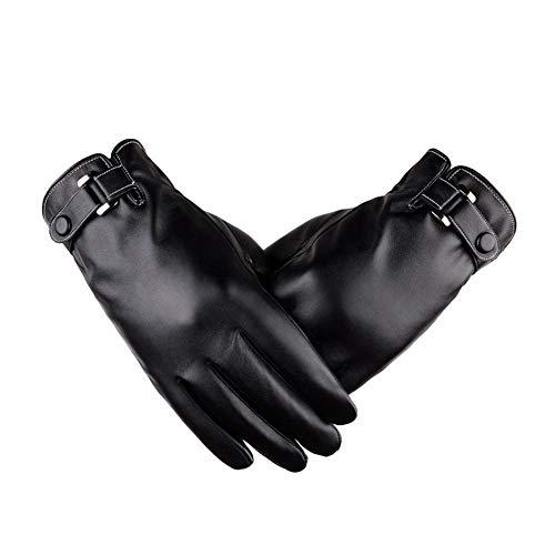 Guanti in pelle per uomo donna touch screen impermeabile inverno caldo guanti termici esterno antivento freddo ciclismo guida guanti da equitazione - nero