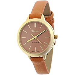 Women's Geneva Japanese Movement Stainless Steel Back Brown Faux Leather Slim Band Watch