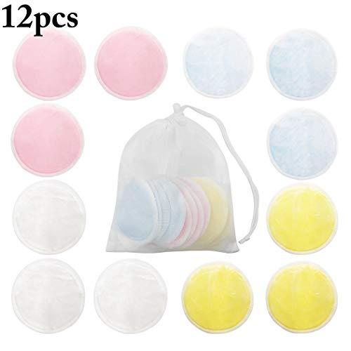 Kapmore Coton Facial Facial Réutilisable mou de la Protection 12PCS de Dissolvant de Maquillage avec le sac de Maille