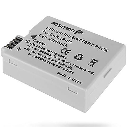 Fosmon Canon LP-E8 / LPE8 (7.4V / 2000mAh) Remplacement Batterie