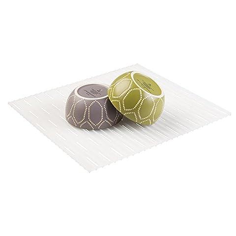 mDesign tapis d'évier pour protéger l'évier des égratignures – grille évier pratique en plastique transparent – fond d'évier en PVC