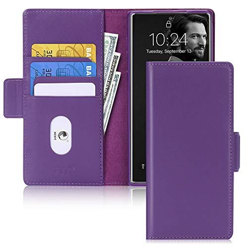 FYY Galaxy Note 10 Plus 5G Hülle,Samsung Note 10 + 5G Handyhülle,[Rindsleder Echtem Leder] Flip Brieftasche Hülle[Ständer-Funktion]mit Kartensteckplätze für Samsung Galaxy Note 10 Plus 5G Hülle-Lila
