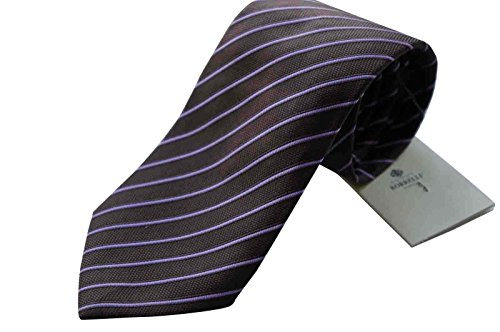 luigi-borrelli-napoli-italy-mens-tie-luxury-100-silk-brown-purple-stripe