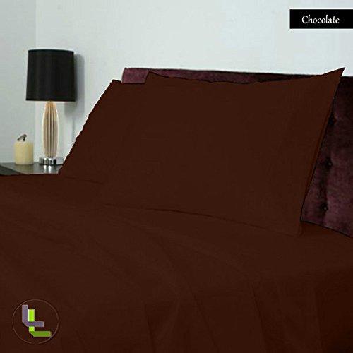 1000TC Elegante Finitura 100% cotone egiziano 4pezzi set di fogli solido (Pocket Size: 16inches), Cotone, Chocolate Solid, EU_Super_King - Jersey Knit Fogli