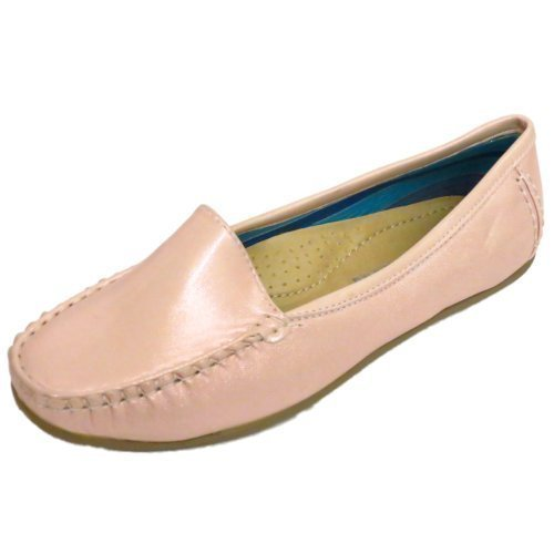 ladies-pink-pearl-slip-on-loafers-womens-comfort-casual-moccasin-shoes