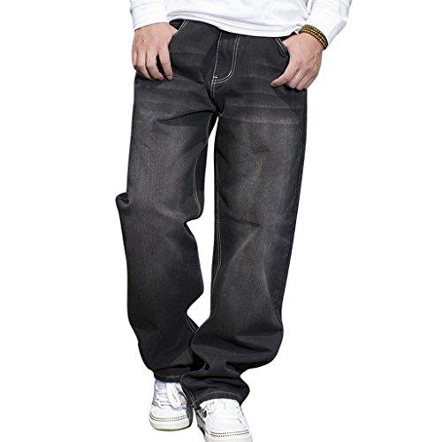 RUIXI Men's Skate Baggy Denim Loose Print Graffiti Long Pants Jeans Black