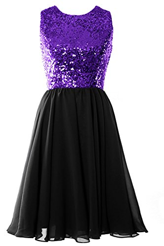 MACloth Women O Neck Short Bridesmaid Dress Sequin Chiffon Cocktail Evening Gown Purple-Black
