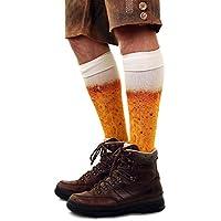 shoperama Kniestrümpfe mit Bier Druck Socken Herren Damen Strümpfe Karneval Verkleidung Party lustig Oktoberfest
