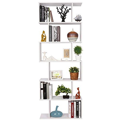 flur ablage HOMFA S-Form Bücherregal Raumteiler Regal Standregal Ablageregal Büroregal Aktenregal Wandregal für Diele, Flur, Büro mit 6 Ablagen 190.5*70*23.5 cm (H x B x T)