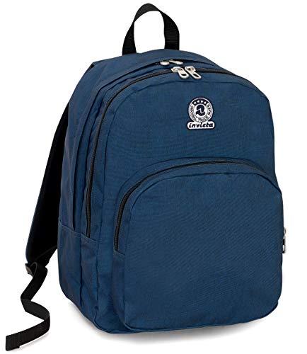 Zaino Invicta Benin M Eco-Material, Blu, 28 Lt, Doppio Scomparto, Tasca porta Laptop fino 15'', Scuola & Tempo Libero