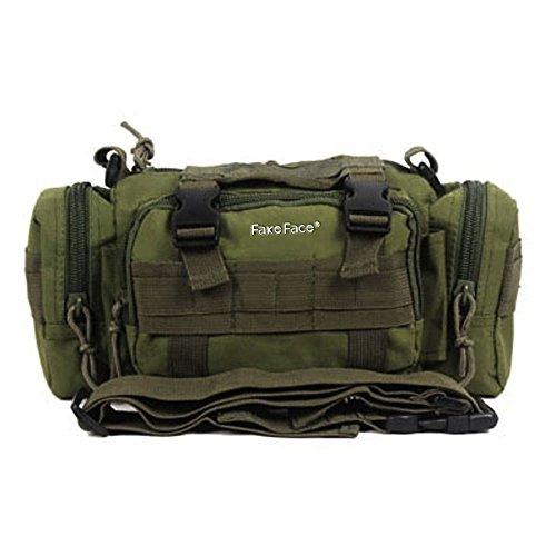 FakeFace 800D Nylon Lenkertasche Fahrradtasche zur Befestigung am Lenker auch als Schultertasche Umhängetasche Hüfttasche für Radfahren Reise Camping 32 x 8,5 x 15 CM (Armeegrün)