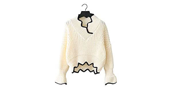 3033a3226 FUTURINO Women s Long Sleeve Knitted Wavy Edge Loose Pullover V-Neck Sweater  Jumper  Amazon.co.uk  Clothing