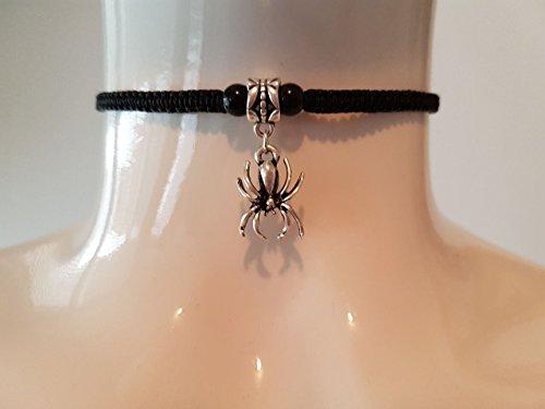 Spider Choker mit schwarzen Perlen