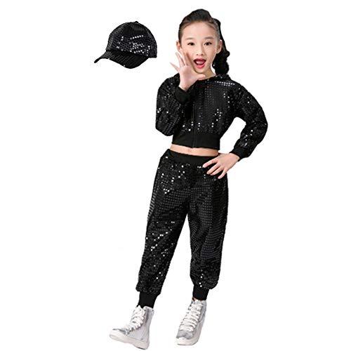 Kinder Mädchen Pailletten Hip Hop Kostüm Street Dance Kleidung gesetzt (140, Schwarz)