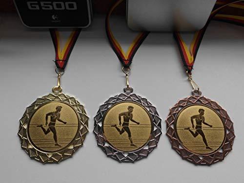 Fanshop Lünen Medaillen Set - Große Stahl 70mm - Gold - Silber - Bronze - Leichtathletik - Laufen - Sport - mit Alu Emblem 50mm - Gold - mit Medaillen-Band - Medaillenset - (e111) -