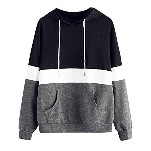 (Sport Damen Mode Freizeit Oberteile Bluse MYMYG Herbst Einzigartig Frauen Winter Casual Retro Hoodie Sweatshirt Langarm Pullover mit Kapuze Pullover Tops Bluse(Grau,EU:36/CN-M)