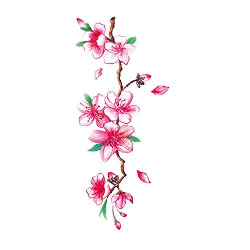 LLonGao Tatoos Zum Aufkleben Auf Die Haut Blumen-Temporäre Tätowierungs-Aufkleber Lotus Cherry Blossoms Flash Tattoo Sticker