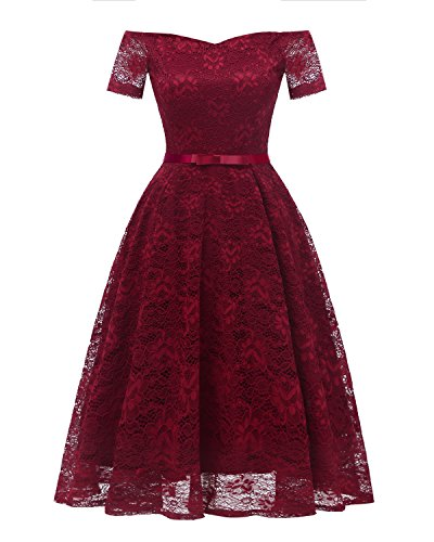 Promgirl House Damen Fashion Kurz Mini Off Shoulder Kurze Aermel Spitze Satin Gruetel Abendkleid...