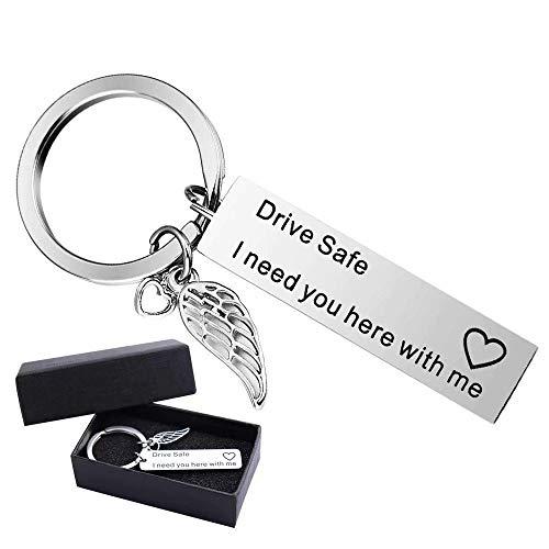 EDATOFLY Drive Safe - Schlüsselanhänger aus Edelstahl Schlüsselbund Personalisierte Kreative Schlüsselring Geschenk für Vater, Ehemann, Freund (B-Silber)