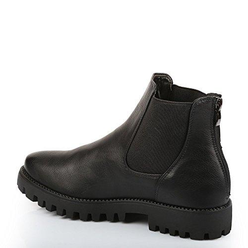 Ideal Shoes–Stiefelette Stil Chelsea mit Lochkoppel ELAIA Schwarz - Schwarz