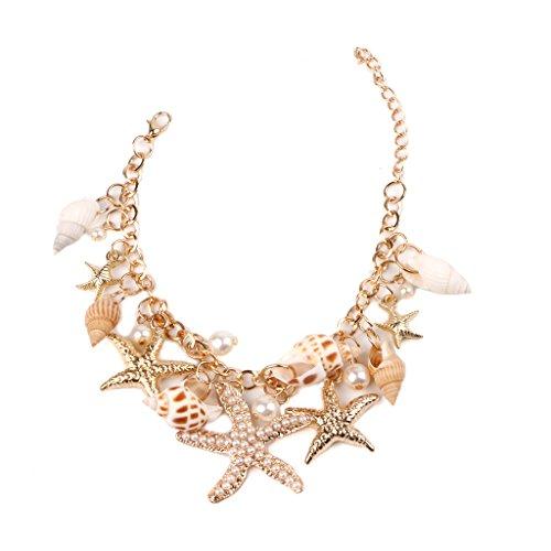 SimpleLife Star & Sea Shell Armbänder, Strand Charm Faux Pearl Collar Bib Anweisung klobige Armband für Frauen und Teen Girls Wrist Bangle Geschenk - Küste Hose