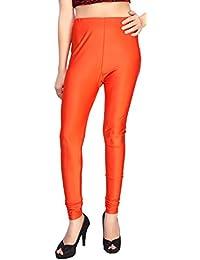 Comix Women Cotton Lycra Fabric Comfort Fit Ankle Length Plain Leggings (Dark Orange,XXXL)