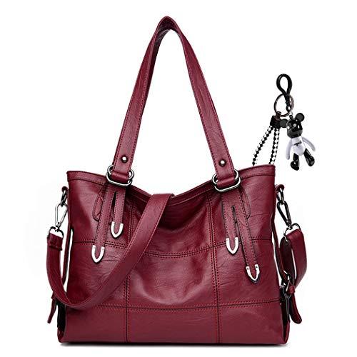 AINUOEY Femme Sacs à main Fleuri Sacs portés épaule Sacs bandoulière Faux Cuir Mode Rouge Vineux