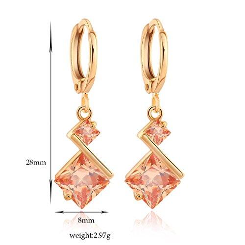 YAZILIND 18K Or Elégant Plaqué zircon Inlay charme Hoop Boucle d'oreille cubes pour les femmes cadeau Champagne