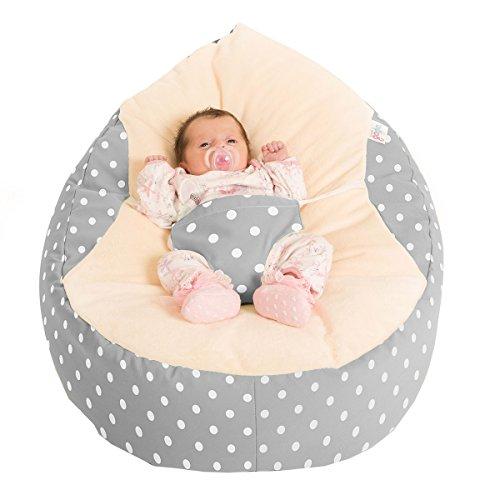 rucomfy Sitzsack Luxury Cuddle Soft Polka Dot Baby GaGa Sitzsack Staubbeutel (grau) -