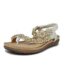 femmes à bijoux entre-doigt fermeture arrière sandale avec Confort Semelle