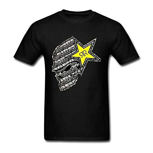 Dafony Rockstar Energy Männer Baumwolle Casual T-Shirt Kreative Graphic Tee Atmungsaktiv Brief Drucken Kurzarm für Alltag Party S-XXXL (T-shirts Rockstar Männer Für Energy)