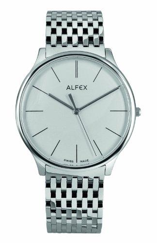 Alfex - 5638_001 - Montre Homme - Quartz Analogique - Cadran Blanc - Bracelet Acier Gris