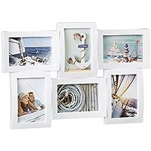 Relaxdays Marco de Fotos Múltiple 6 para Pared, Plástico, Blanco, 33 x 47.5 x 3 cm