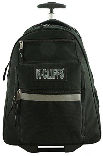 Rolling Rucksack Schulrucksäcke mit Rollen Deluxe Trolley Büchertasche mehrere Taschen schwarz schwarz -